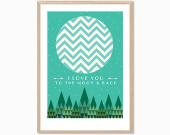 I LOVE YOU | To The Moon & Back Poster : Modern Illustration Retro Art Wall Decor Print