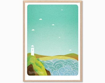 AUSTRALIA | Byron Bay Poster : Modern Australia Illustration Retro Art Wall Decor Print
