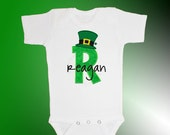 St. Patrick's Day Baby Shirt Bodysuit - Personalized Applique - Leprechaun Hat - Embroidered Short or Long Sleeved Bodysuit