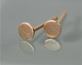 Yellow Gold Studs 14k SOLID Gold Tiny Circle Dot Disk   Brushed Satin Finish Recycled Eco Friendly Gold