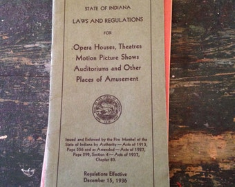 Vintage Ephemera - Indiana Rules and Regulations From the 1930s and '40s