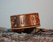 """Hand Stamped """"Gypsy"""" Copper Leather Cuff"""