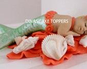 MERMAID Baby Cake Topper 1st Birthday baby Shower seashells