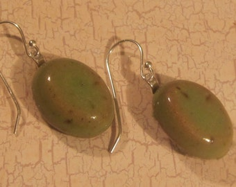 Memorial Cabochon Earrings - Custom Keepsake Stoneware Pottery Pet Cremains Cabochons with Sterling Silver Findings - Oval