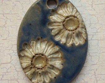 Large Glazed Pottery Pet Cremains Motif Pendant or Ornament - Custom Memorial Pet Cremation Keepsake - Double Daisies