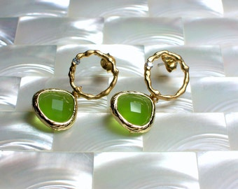 Modern Earrings, Dangle Earrings, Stud Earrings, Matte Gold Jewelry, Opaque Green glass CZ Earrings, Post Earrings, Stud Earrings Jewellery