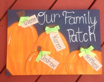 Custom family pumpkin patch painting
