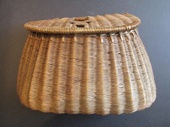 Antique fishing creel basket father 39 s day gift for Fishing creel basket