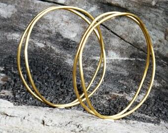 Gold bangles set of 2, brass bangles set, bangles bracelet, stacking bangles set, gold plated bangles, boho bangles, gold bracelet