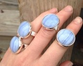 Blue Lace Agate Ring, Blue Lace Agate, Gemstone Ring, Sterling Silver