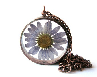 Blue Daisy Resin Pendant Necklace - Real daisy encased in resin with open back copper bezel, Pressed Flower Jewelry, Resin Jewelry