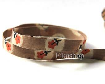 3 yards 3/8 inch 9mm Double Sided Orange Flower in Beige Poly Ribbon (KR0023) - Fikashop