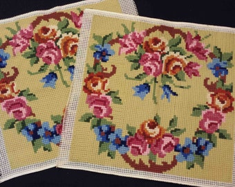 Handstitched PAIR  of  FLORAL NEEDLEPOINTS petitpoints tapestries pictures canvas embroideries garlands and bouquets cross-stitch