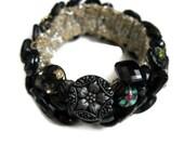 Vintage Button Bracelet, Estate Jewelry, Antique Button Bracelets, Jewelry Black Glass Old Buttons, Vintage Mourning Buttons