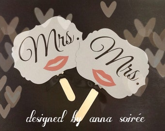 PHOTO SIGNS - Mr. and Mr. & Mrs. and Mrs. Die-Cut Flourish Set of Hand Held Signs for SAME Sex Wedding Photos
