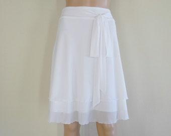 White Bridesmaid Skirt. White Evening Skirt. Short Party Skirt.