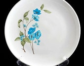 6 Sabin China Dinner Plates with Blue Poppy Flowers Vintage 1950s SET of 6