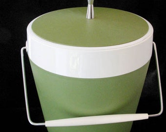 West Bend Thermo Serve Ice Bucket Avocado Green Vintage 1970s
