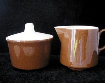 Royal China (USA) Brown Creamer and Sugar Bowl with Lid Vintage 1960s