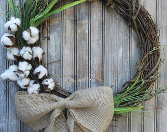 "23"" Cotton Branch Grapevine Wreath with Burlap Bow"