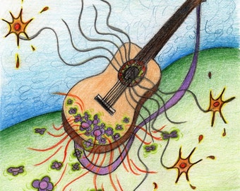 Post card with guitar drawing, spanish guitar card, musical instrument card, music greeting card, birthday card, musician collectors item