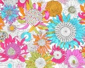 Liberty Small Susanna Pink Yellow Aqua Sunflowers Floral Pattern Patchwork Quilting Scrap Quilt Paper Piecing Pincushion Cotton Tana Lawn