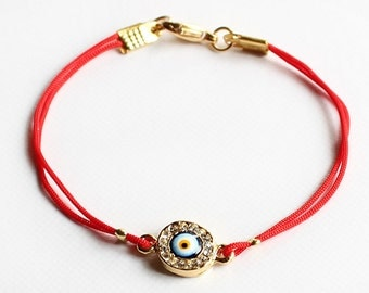 Evil eye bracelet, red string bracelet, good luck bracelet, crystal evil eye, turkish jewelry, istanbul jewelry, best friend gift