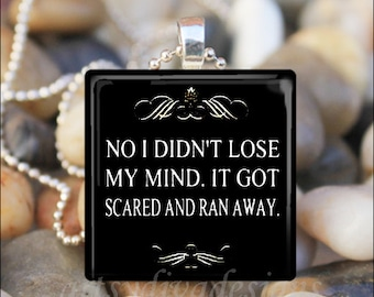 LOSING MY MIND Funny Humorous Sassy Sarcastic Glass Tile Pendant Necklace Keyring