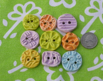 Ceramic Clay Textured Buttons Stamped Set/9 Creamy Neutral Tangerine Lime Violet- Biscayne Bike Path-  Made in California