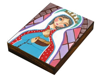 St. Elizabeth, Art  Painting, Print Mounted On the Wood  ((size 8.9 x 12 cm), Mixed Media, Wall Decore by Evona
