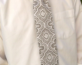 Gray and White Medallion Print Men's Tie by GreenStyle