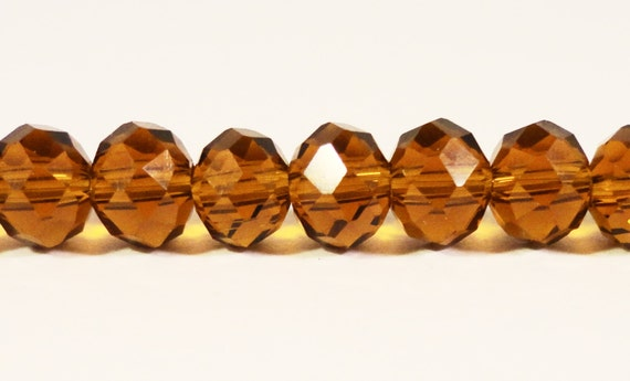 Brown Rondelle Crystal Beads 6x4mm (4x6mm) Root Beer Brown Faceted Chinese Crystal Glass Beads for on a 9 1/2 Inch Strand with 49 Beads