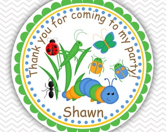 Back yard Bugs - Personalized Stickers, Party Favor Tags, Thank You Tags, Gift Tags, Address labels, Birthday, Baby Shower