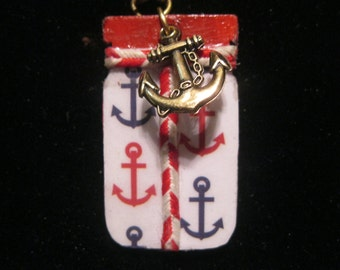 Anchors Away Mason Jar Double Sided Nautical Decoupage Wooden Pendant on Cord with Anchor Charms