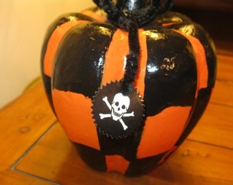 Checkerboard Hand Painted Paper Mache Halloween Pumpkin with Pipe Cleaner and Glow in the Dark Skull Accents