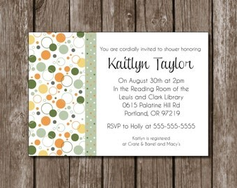 Orange and Olive Printable Bridal Shower Invitation//Matching set available//Digital File//Custom