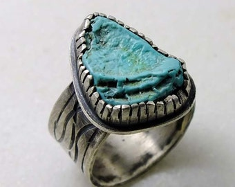 Lone Mountain Turquoise raw nugget ring  antiqued, oxidized silver.