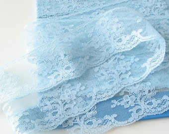 """3 yards soft, light weight blue scalloped lace trim 1.75"""" wide"""