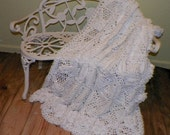 Reserved for Mary White Custom Made Afghan Flower Cream Color 50 by 60 Inches 100 Percent Cotton Crochet