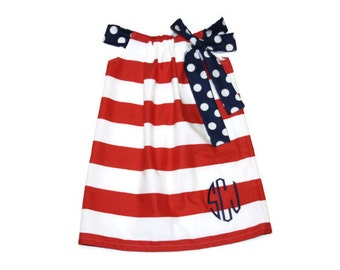 Red Stripe Baby, toddler, and girls Dress Patriotic, 4th of july, red/blue, memorial day sz 12m, 18m, 24m/ 2, 3,4,5,6,7,8