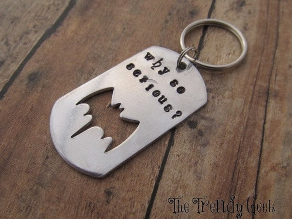 Why So Serious Key Ring Dog Tag by TheTrendyGeek on Etsy