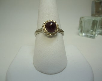 Cabochon Round Cut Ruby Ring in Sterling Silver  #1020
