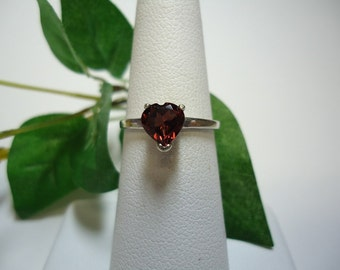 Heart Cut Garnet Ring in Sterling Silver   #1155