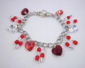 Swarovski Red Heart Charm Bracelet