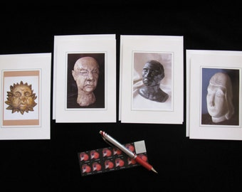 Four Faces Blank Notecard Set