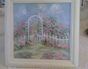 Cottage Chic Garden Arbor with Picket Fence  Hand  Painted Picture