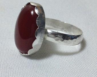 Carnelian Statement Ring in Sterling Silver