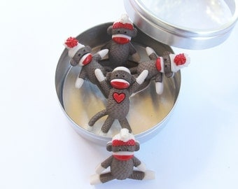 Sock Monkey Push Pins or Magnets