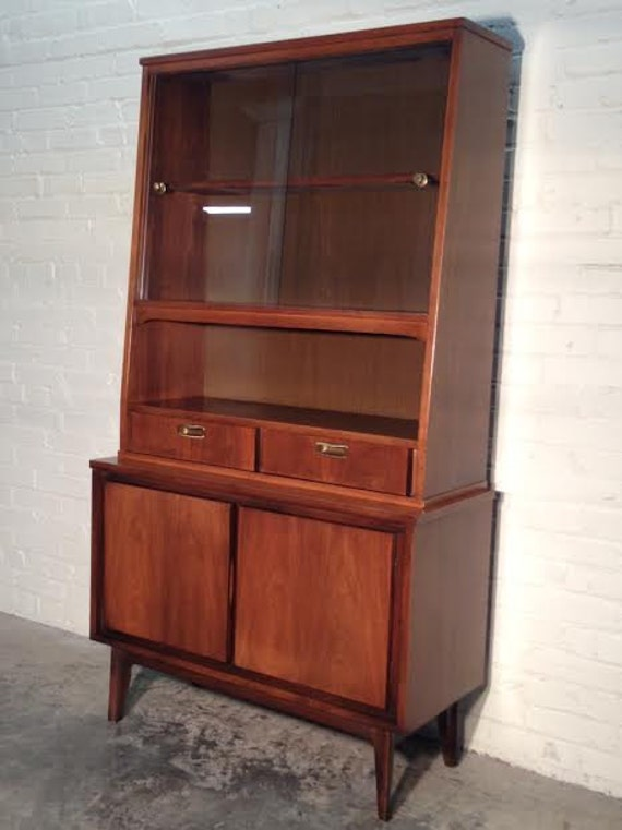 mid century danish modern china cabinet hutch buffet. Black Bedroom Furniture Sets. Home Design Ideas