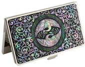 Nacre abalone shell Mother of pearl Business card holder credit ID card case two crane  design #40